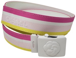 Chanel Pink multicolor grosgrain Chanel CC logo adjustable belt