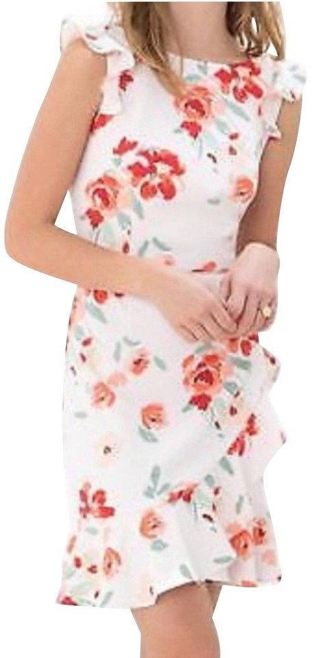 3d8c62728589 Donna Morgan Pink Ruffle Fit and Flare Floral Short Casual Dress ...