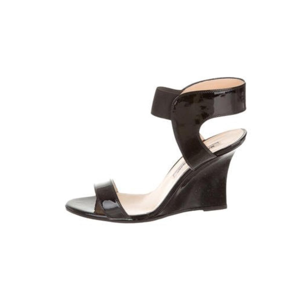 e31bf644ae9b Manolo Blahnik Black Patent Leather Wedges Sandals. Size  US 6.5 ...