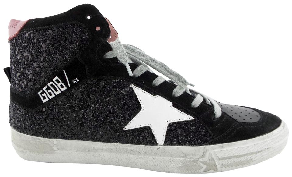 6eb2c70390d7a Golden Goose Deluxe Brand Black Glitter White Star Mid Top Sneakers ...