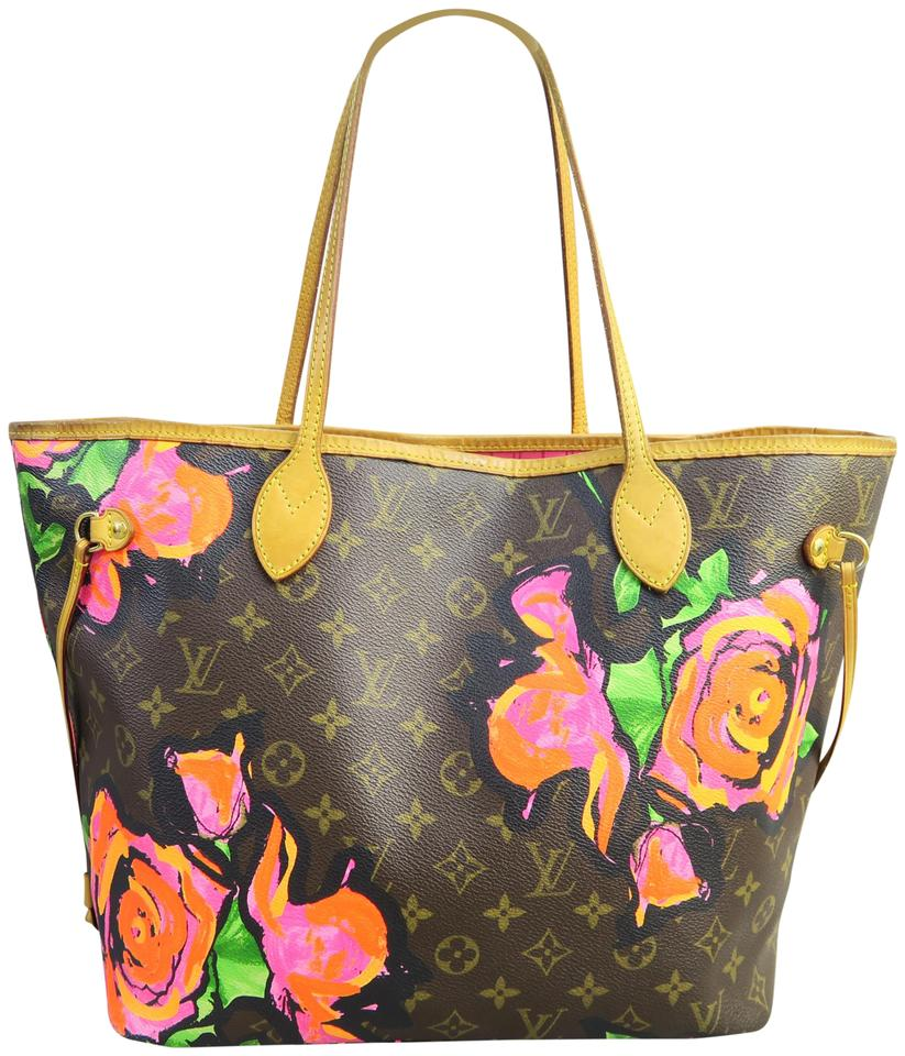 Louis Vuitton Neverfull New Rare Limited Edition Roses Monogram ... a86874869128b