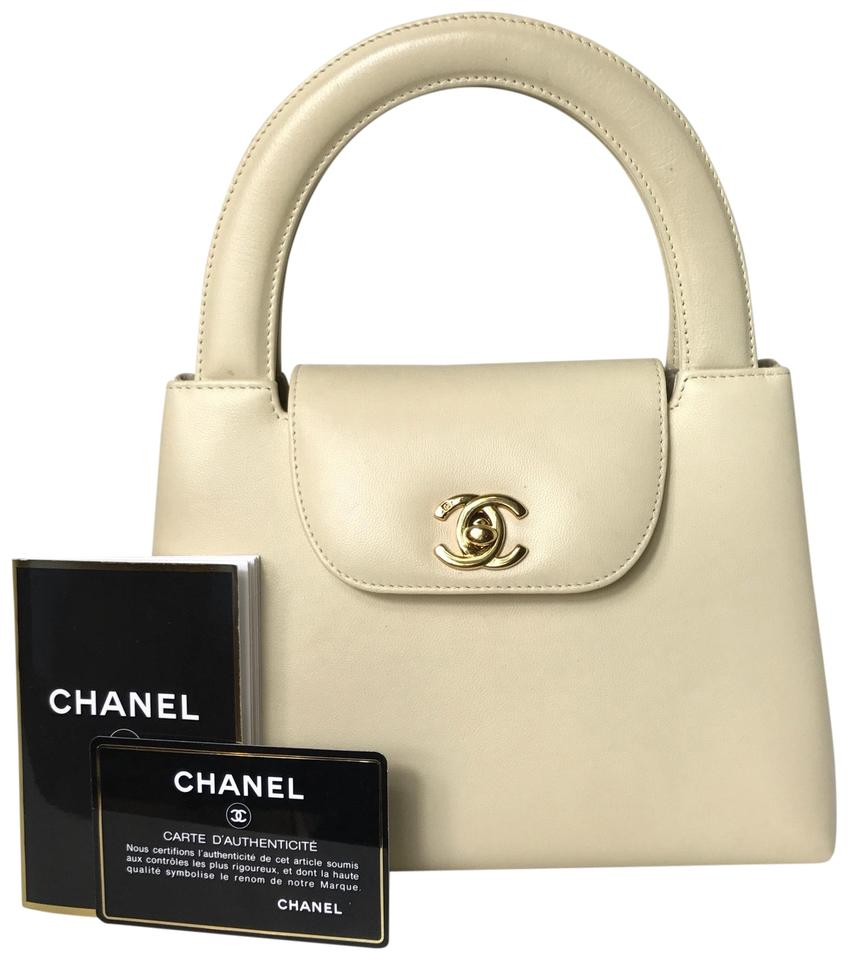 ffcdba5f795c Chanel Rare 24k Plated Cc Logo Small Kelly Ivory Leather Satchel ...