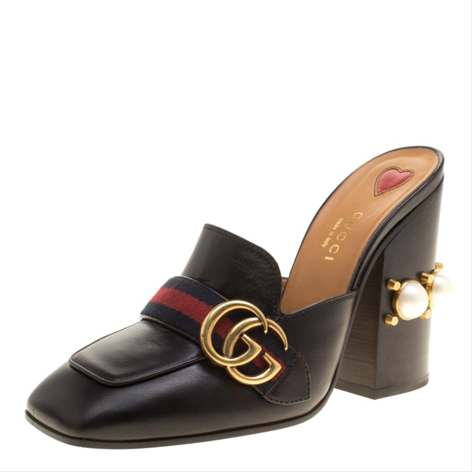 d6857bfb5 Gucci Black Leather Peyton Gg Web Detail Faux Pearl Studded Mules ...