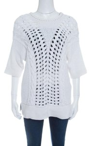 Thakoon Chunky Perforated Knit Short Top White