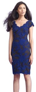Tadashi Shoji Lace Embroidered Classy Elegant Sophisticated Chic Nightout Formal Engagement Detail Fitted Sapphire Cap Sleeve V Neck Dress