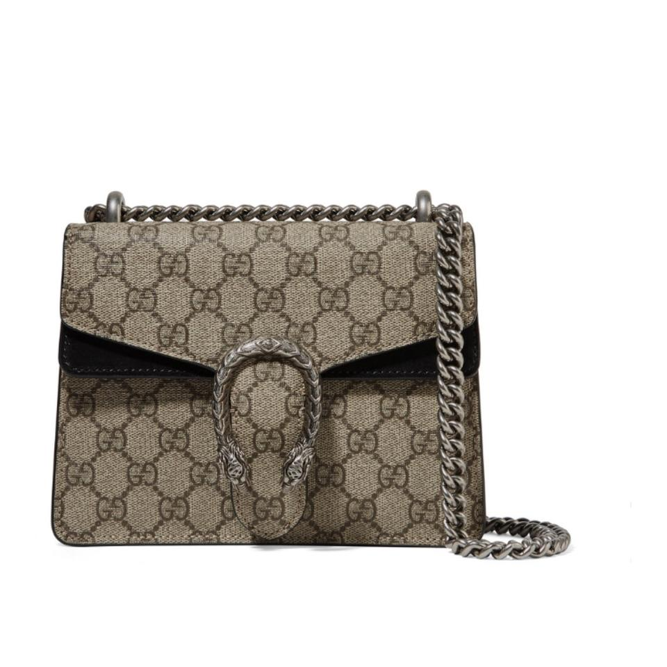 c1306478e2b Gucci Dionysus Mini Logo Canvas Suede Leather Shoulder Chain Cross ...