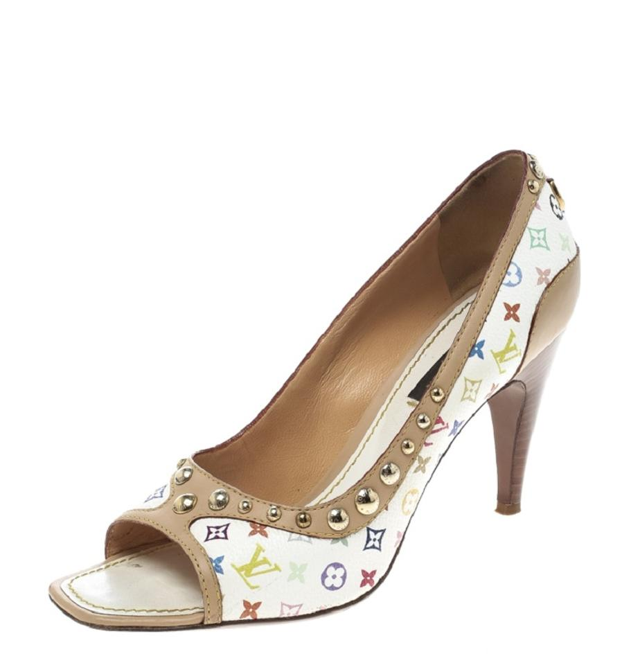 f89c674318d8 Louis Vuitton Monogram Canvas Leather Studded Peep Toe White Pumps Image 0  ...