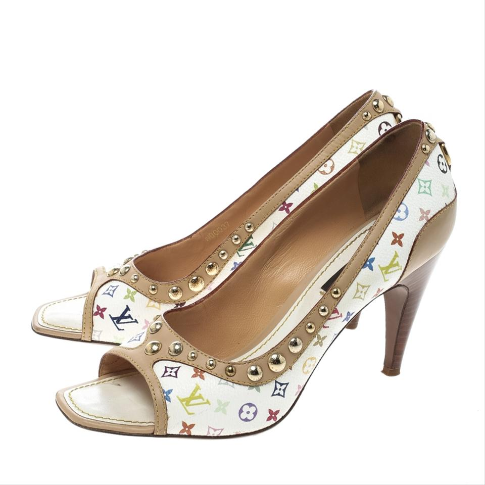f9793c59fb6b Louis Vuitton Monogram Canvas Leather Studded Peep Toe White Pumps Image 5.  123456