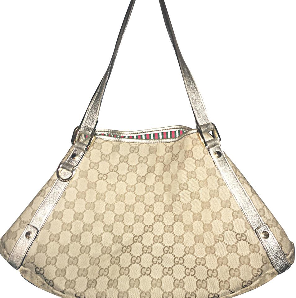 018438117631d9 Gucci Abbey Medium Beige Gg Canvas W Gold Hardware W Platinum Dual Leather  Flat Shoulder Straps Tote