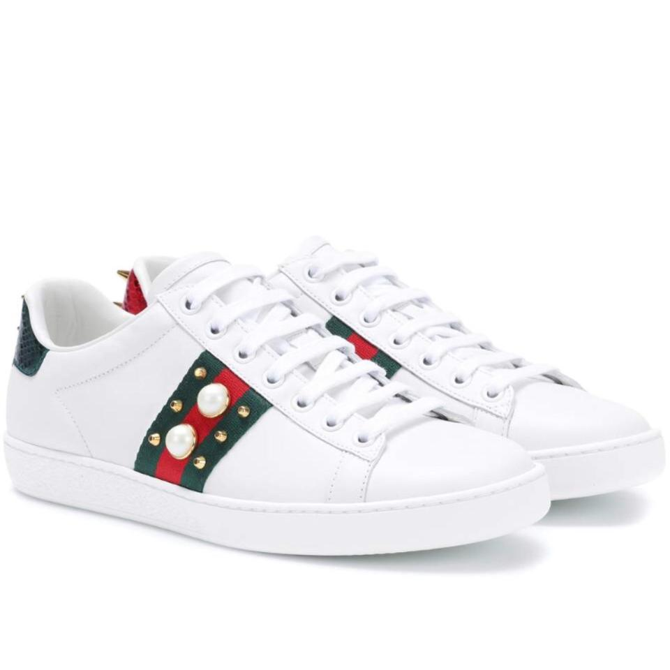 72156250b45 Gucci Ace Pearl Spike Embellished Leather Sneakers Sneakers Size US ...