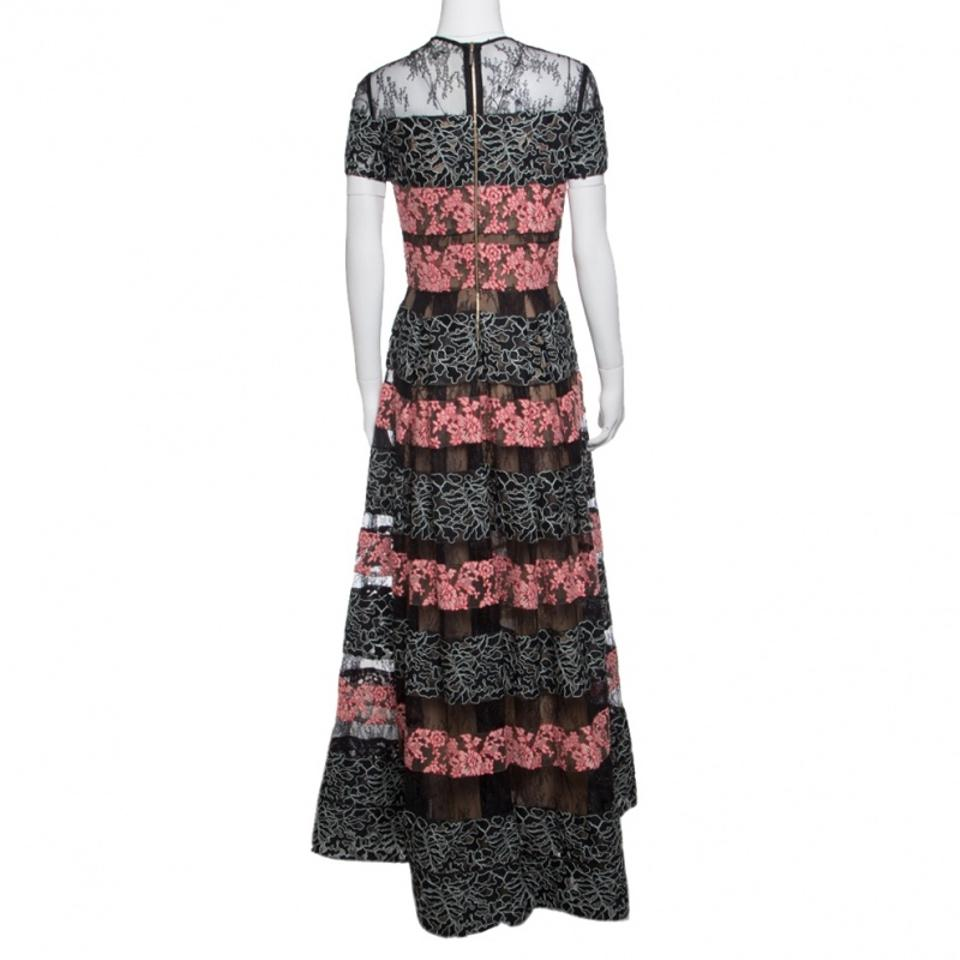 Elie Saab Black And Salmon Pink Paneled Floral Embroidered Tulle ...
