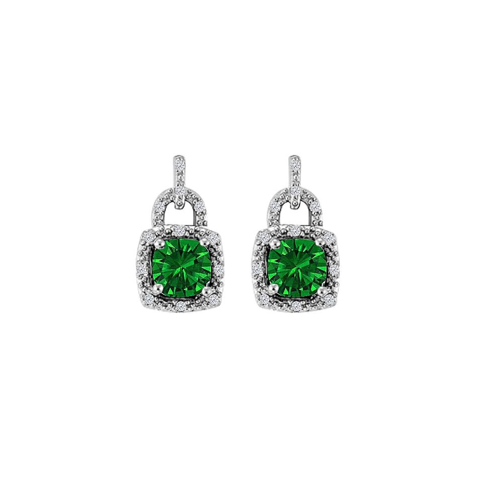 a685b5db49eee Green Lock Design Cz Emerald Square Halo Stud Silver Earrings 70% off retail