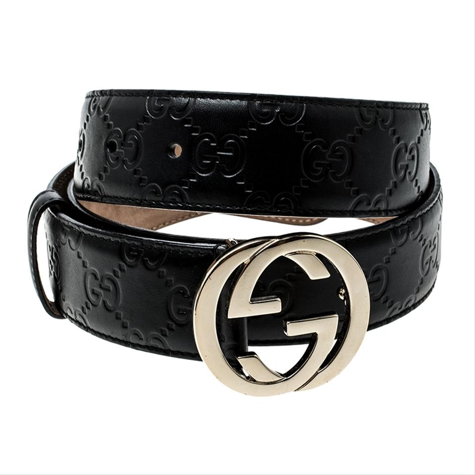 637cfb65118 Gucci Black Guccissima Leather Interlocking GG Belt 90cm Image 5. 123456