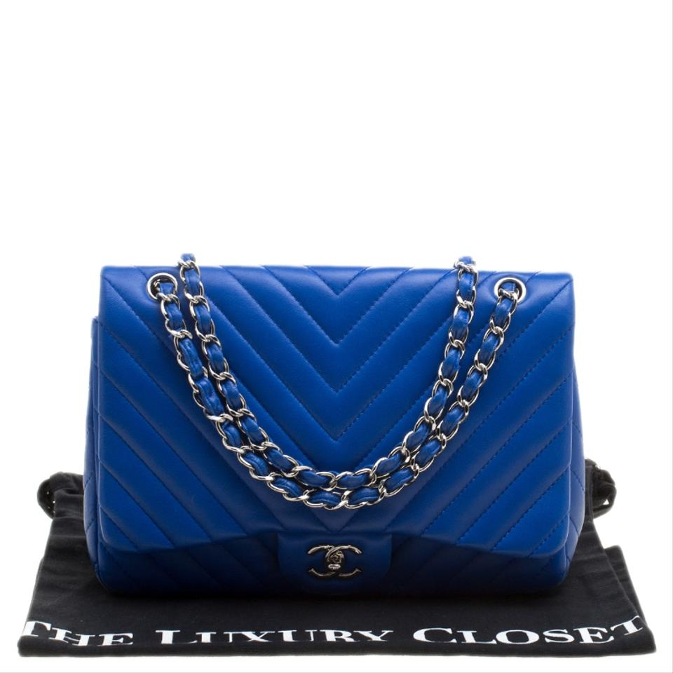 e27de8cb6efb Chanel Classic Flap Chevron Quilted Jumbo Blue Leather Shoulder Bag -  Tradesy