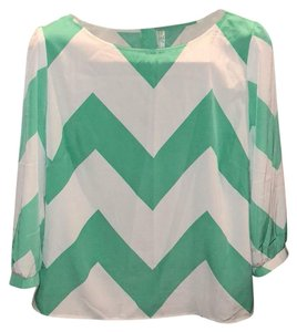 Pink Owl Top mint green/ white
