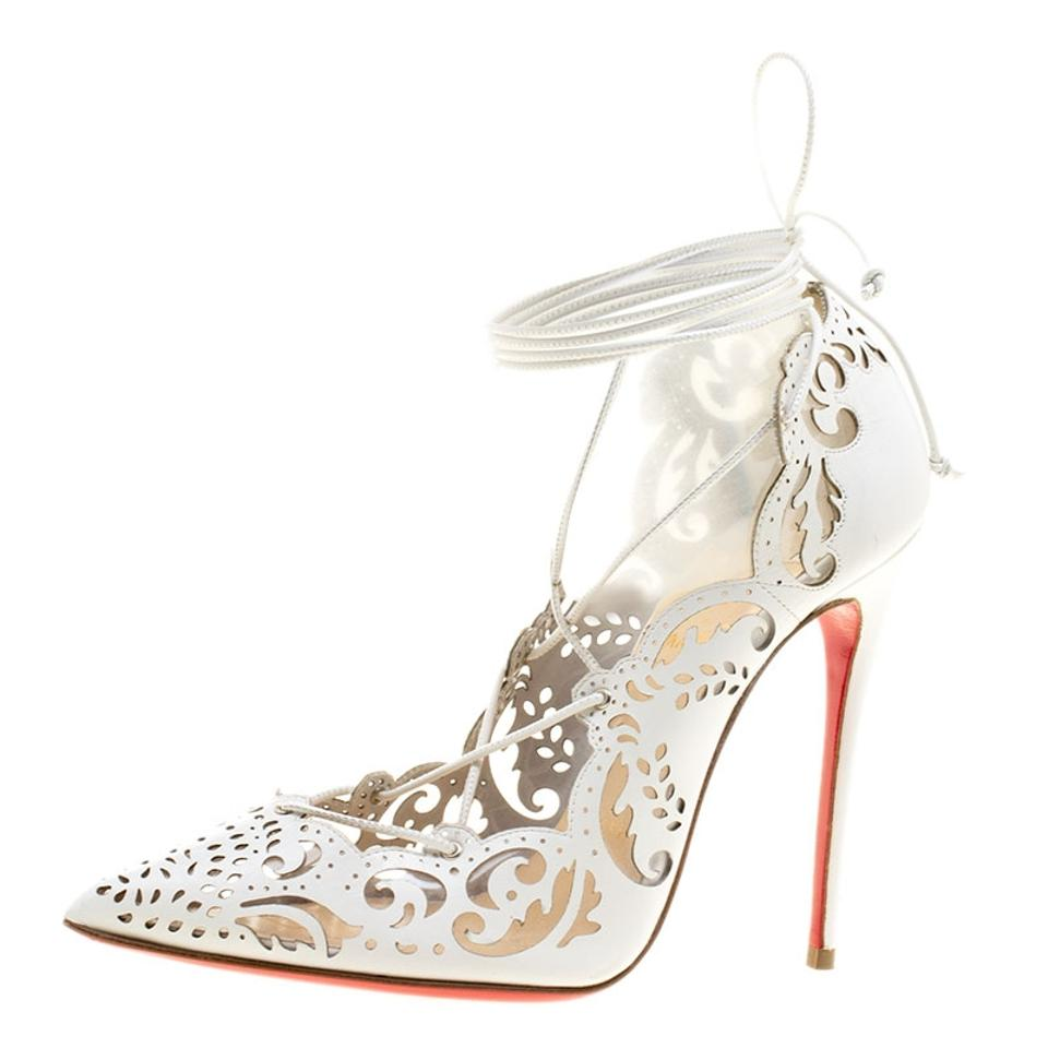 dc5bfb81236 Christian Louboutin White Laser Cut Leather Impera Lace Up Pointed Pumps