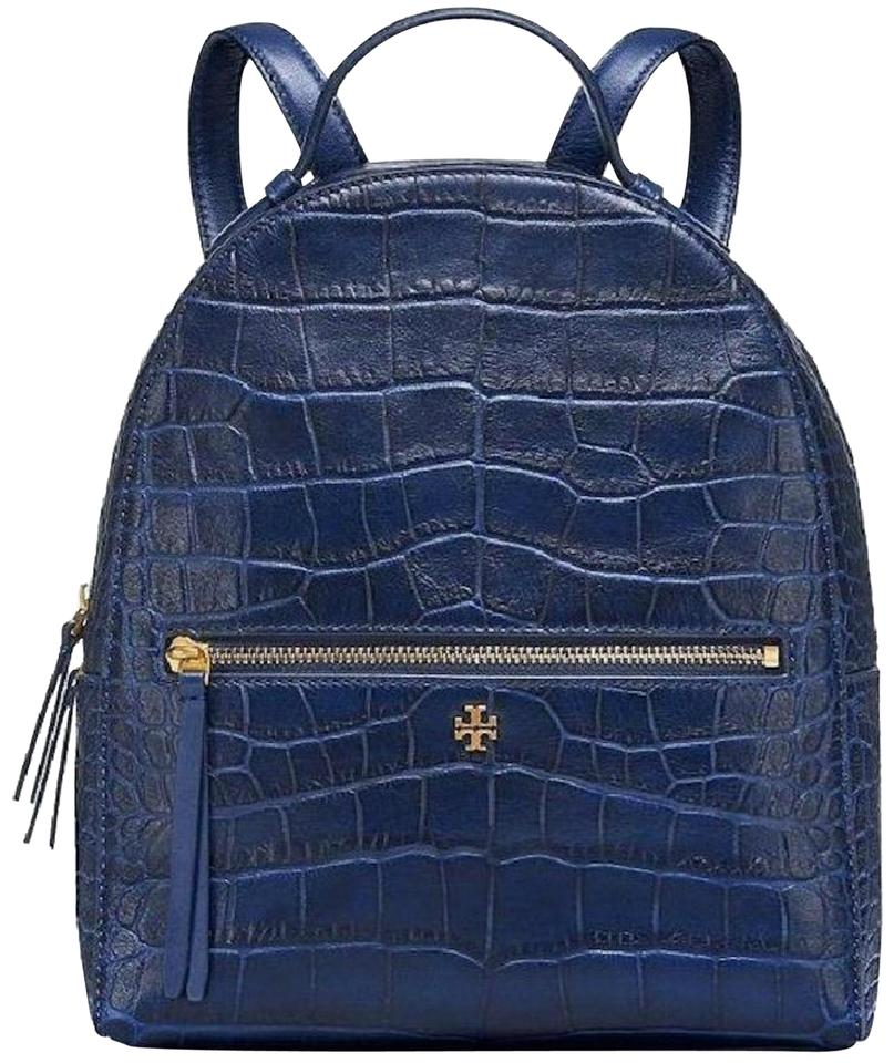 38f4bdbf2e72 Tory Burch Croc Embossed Navy Blue Leather Backpack - Tradesy