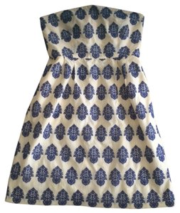 J.Crew short dress Cream with Royal Blue on Tradesy