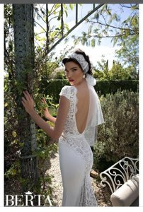 14949e39c0a5 Berta Bridal White Cream Lace and Crepe Gown. Delicately Beaded Lace Cap  Sleeves and Centre