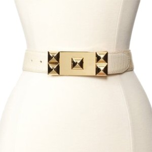 Vince Camuto New Vince Camuto Cream Panel Belt w/Studded Buckle