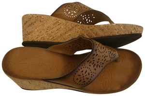 7bc67d27655 Clarks Wedge Heels Leather Cut Outs Brown Sandals