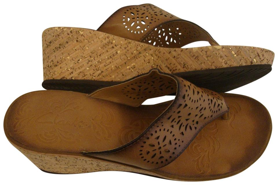 0b9e2c225132a Clarks Brown Cork Wedge Leather Cut Outs Sandals. Size: US 7.5 Regular ...