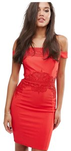 Lipsy Embroidered Bardot Bodycon Dress