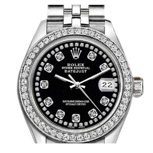 Rolex Rolex Silver and Black Ladies 26mm Datejust with Custom Bezel Diamond