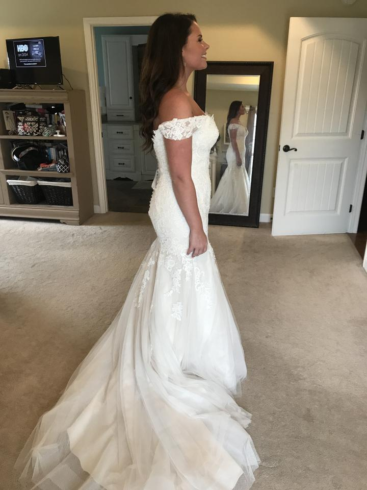 Maggie Sottero Ivory With Gold Underlay Lace And Tulle Afton Traditional Wedding Dress Size 14