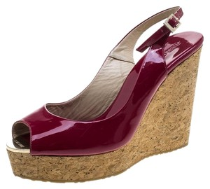 Jimmy Choo Patent Leather Wedge Slingback Red Sandals