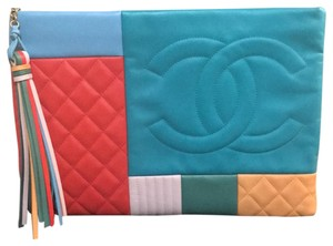 Chanel New Large orange, blue, multicolor Clutch