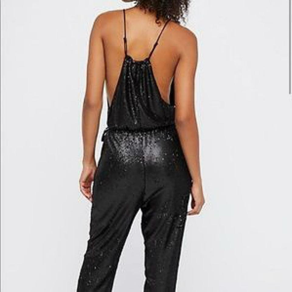 Free People Black Sequin Pantsuit Romperjumpsuit Tradesy