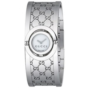 Gucci Stainless Bangle Bracelet Cuff White Mother of Pearl Twirl YA112510
