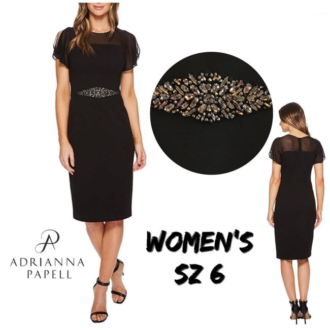 Preload https://img-static.tradesy.com/item/23995806/adrianna-papell-black-embellished-crepe-sheath-mid-length-short-casual-dress-size-6-s-0-0-650-650.jpg