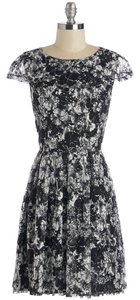 Moon Collection short dress Black and White Lace Cap Sleeve Modcloth on Tradesy