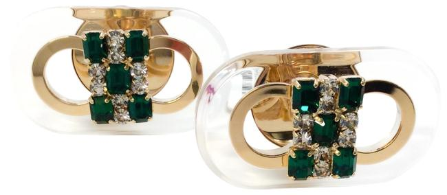 Marni Emerald / Gold Runway Cuff Links In Metal Plexiglass and Strass Marni Emerald / Gold Runway Cuff Links In Metal Plexiglass and Strass Image 1