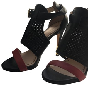 Pour La Victoire Heeled Sandals Open Toed Modern Buckled L.a.m.b. Black/Red/Gold Boots