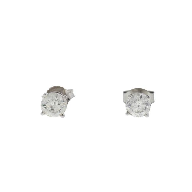 White 10k Gold Diamond Stud .75 Cts Earrings White 10k Gold Diamond Stud .75 Cts Earrings Image 1