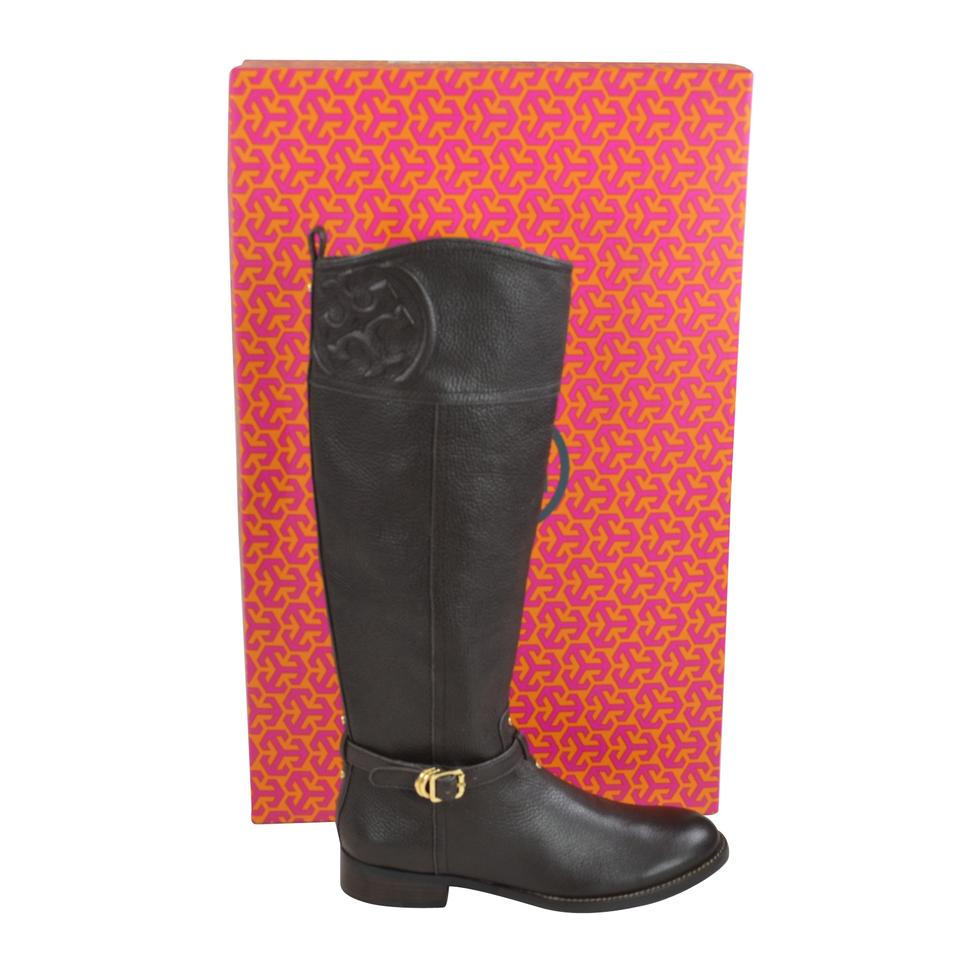 946b532e90f Tory Burch Coconut Marlene Riding Tumbled Leather Boots Booties Size ...