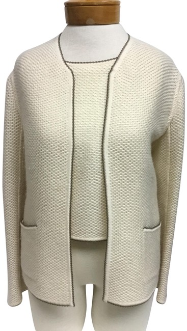 Chanel Cream With Olive Trim and Matching Tank Cardigan Size 6 (S) Chanel Cream With Olive Trim and Matching Tank Cardigan Size 6 (S) Image 1