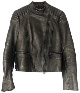 Belstaff Leather Quilted Metallic Motorcycle Jacket