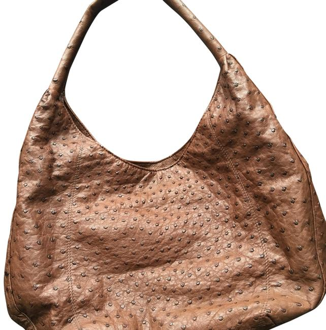 Item - Brown Ostrich Leather Hobo Bag