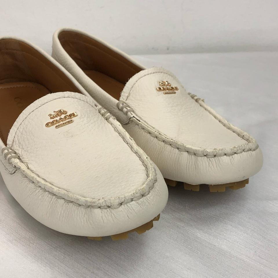 e338c6e9d6a Coach Chalk Amber Pebbled Leather Grain Loafers Ivory Flats Size US ...