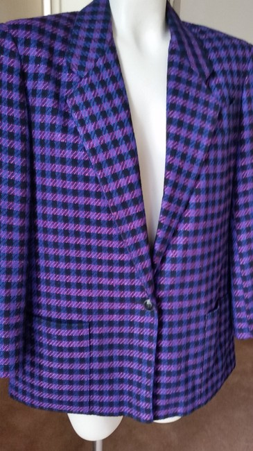 Jones New York Houndstooth Purple/Black Purple/Black Blazer Image 1