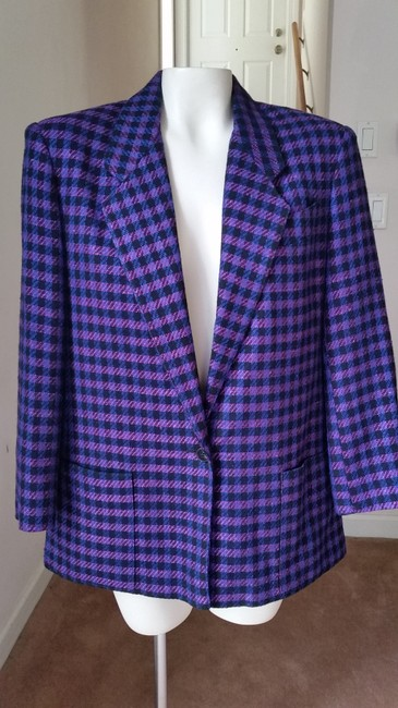 Jones New York Houndstooth Purple/Black Purple/Black Blazer Image 2