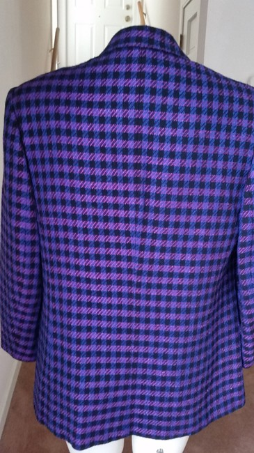 Jones New York Houndstooth Purple/Black Purple/Black Blazer Image 3
