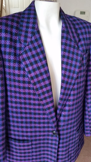 Jones New York Houndstooth Purple/Black Purple/Black Blazer Image 5