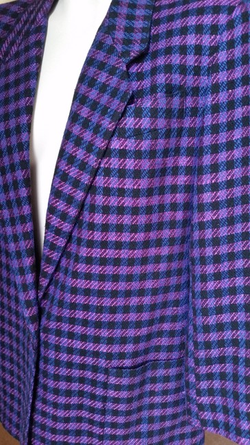Jones New York Houndstooth Purple/Black Purple/Black Blazer Image 6