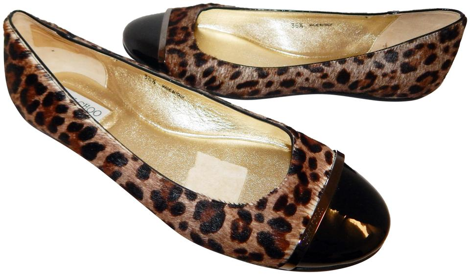 5c26a37c1a04 Jimmy Choo Multi Color Leopard Calf Hair Black Patent Leather Toe Caps  Ballet Flats