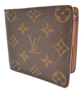 Louis Vuitton Brown Wallet Vintage Monogram Canvas Leather Bifold Men's Jewelry/Accessory
